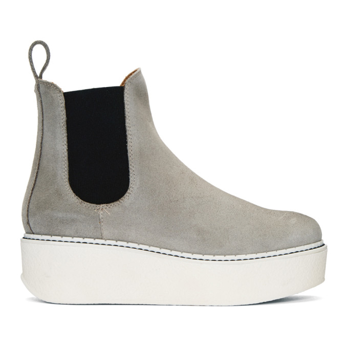 FLAMINGO'S Flamingos Ssense Exclusive Grey Suede Gibus Platform Boots in 2747 Grey/Off White