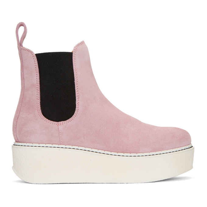 FLAMINGO'S Flamingos Ssense Exclusive Pink Suede Gibus Platform Boots in 2909 Pale Pink/Off W