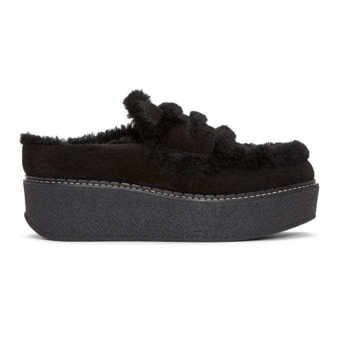 Image of Flamingos Black Suede Loco Slip-On Platform Loafers