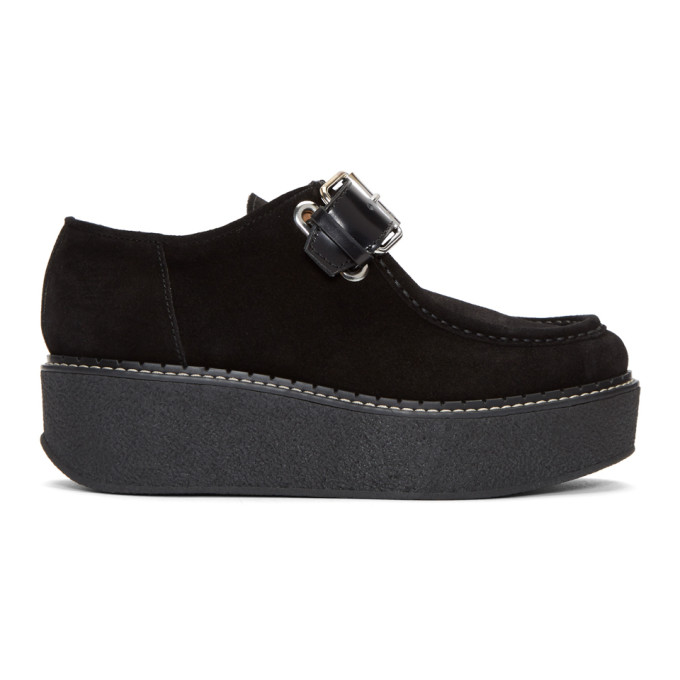 Image of Flamingos Black Suede Zenith Platform Loafers