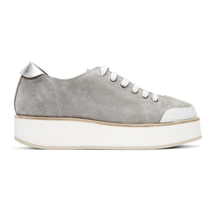 Image of Flamingos SSENSE Exclusive Grey Tatum Suede Sneakers