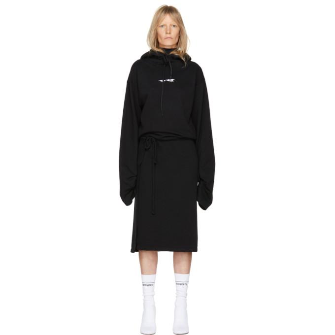 Vetements Black Hoodie Wrap Dress