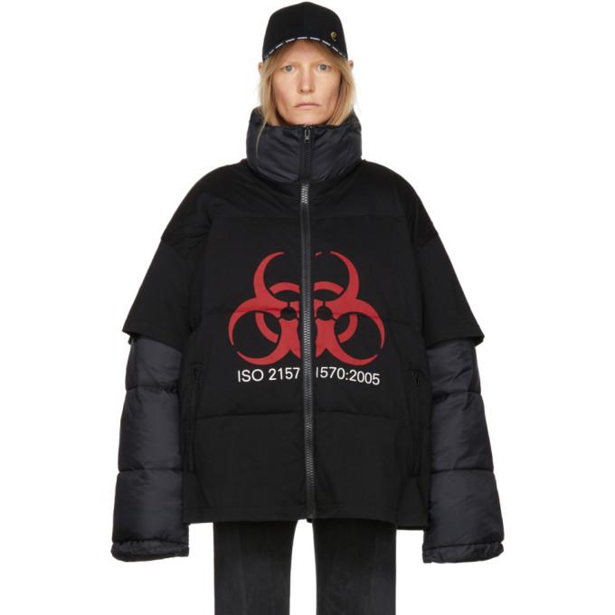 Image of Vetements Black Volunteer T-Shirt Puffer Jacket