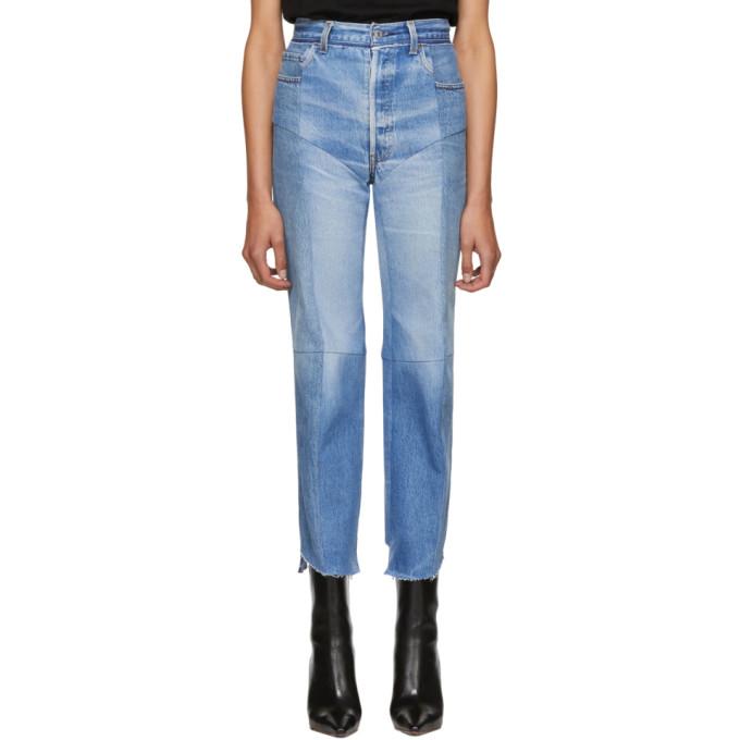 VETEMENTS Blue Reworked Biker Jeans