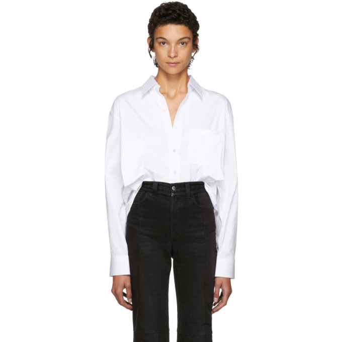 Vetements White Secretary Decollage Shirt