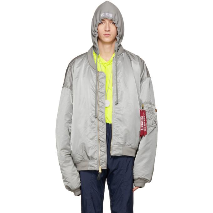 Vetements Reversible Grey Alpha Industries Edition Hooded Bomber Jacket