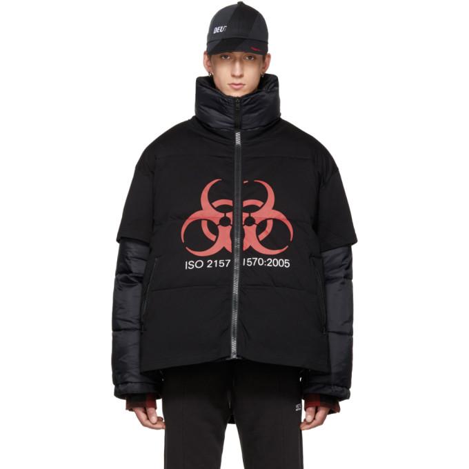Image of Vetements Black 'Genetically Modified' Volunteer Puffer Jacket