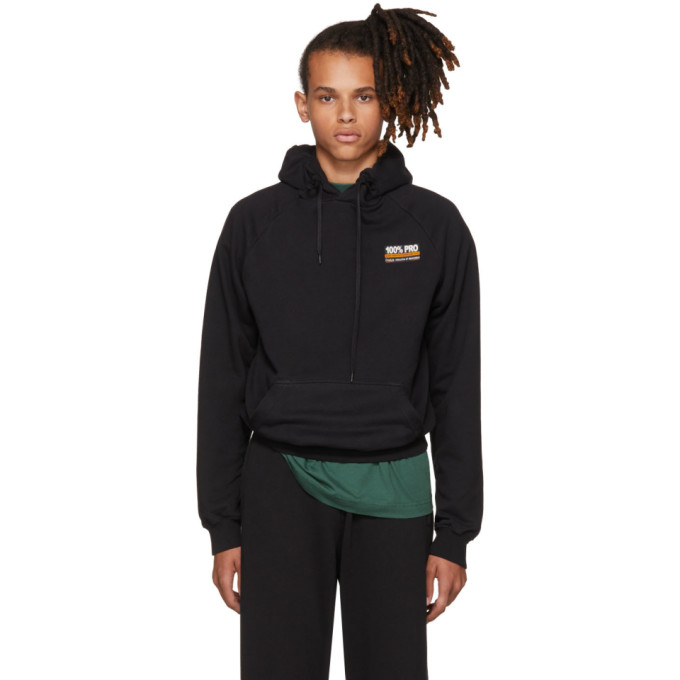 Vetements Black 100% Pro Normal Fitted Hoodie