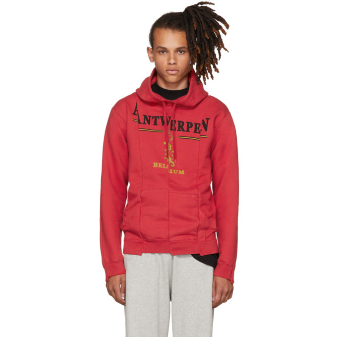 Vetements Red Antwerp Fitted Cut Up Hoodie