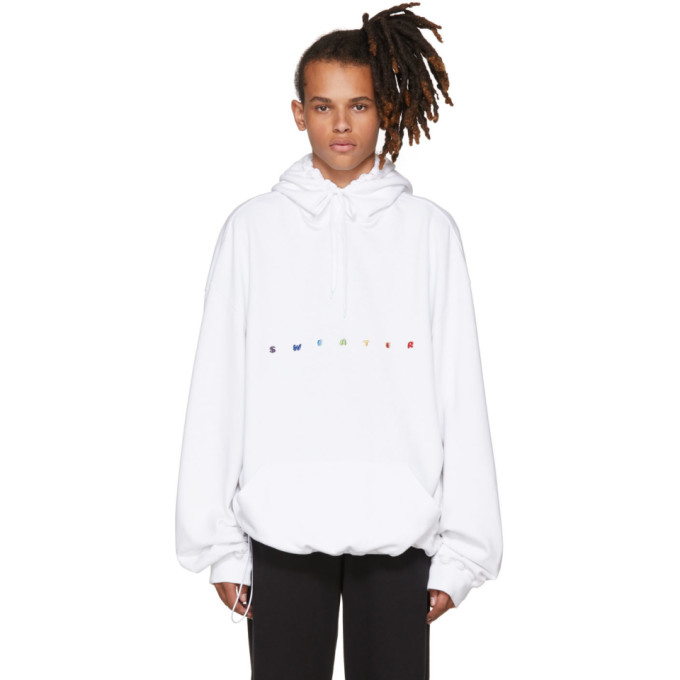 Vetements White Oversized Sweater Hoodie
