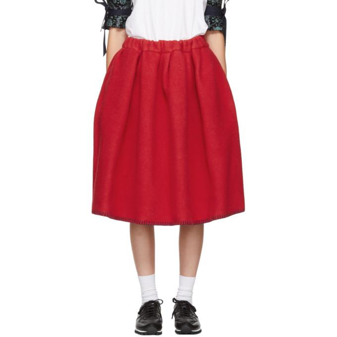 Image of Comme des Garçons Girl Red Wool Blanket Skirt