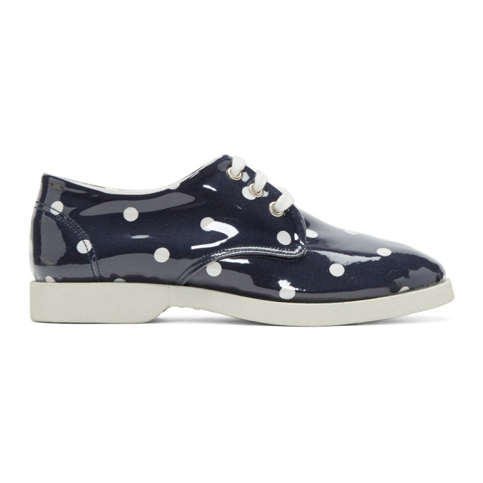 Image of Comme des Garçons Girl Navy & White PVC Polka Dot Sneakers