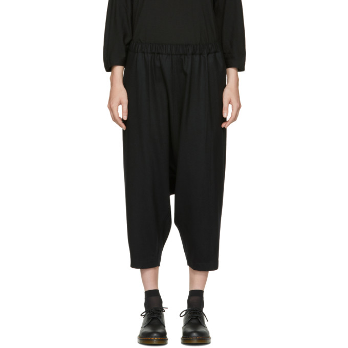 Comme des Garcons Black Wool Drop Drawstring Trousers