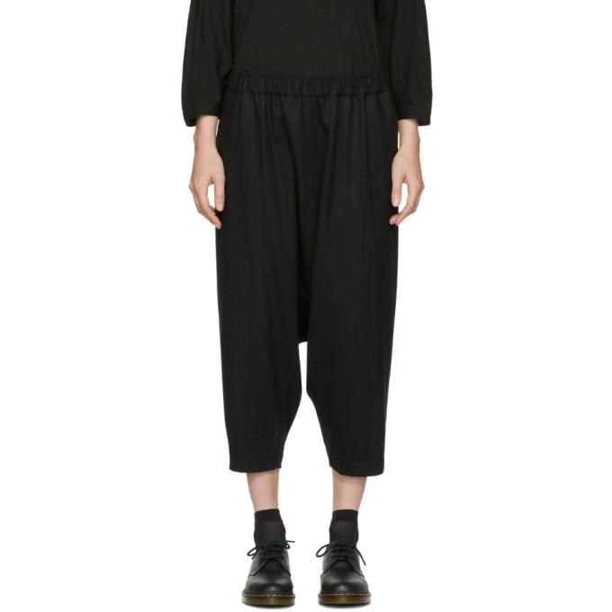 Image of Comme des Garçons Comme des Garçons Black Wool Drop Drawstring Trousers