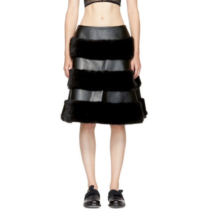 Image of Noir Kei Ninomiya Black Faux-Leather Skirt
