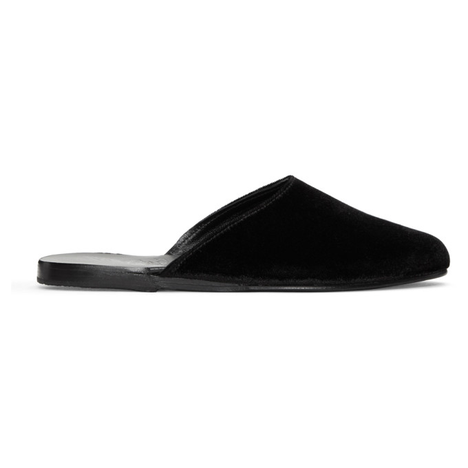 Image of Ancient Greek Sandals Black Velvet Pasoumi Mules
