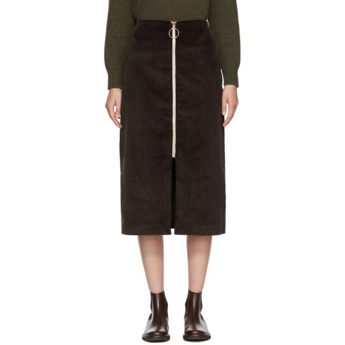 Image of Harmony Brown Corduroy Janisse Front-Zip Skirt
