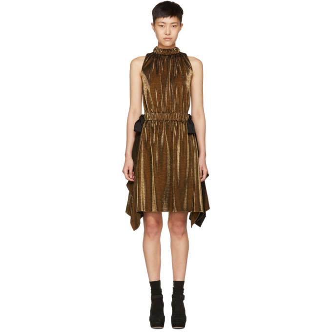 Fendi Gold Lurex Bows Halter Dress