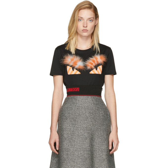 Fendi Black & Orange Fur Bag Bugs T-Shirt