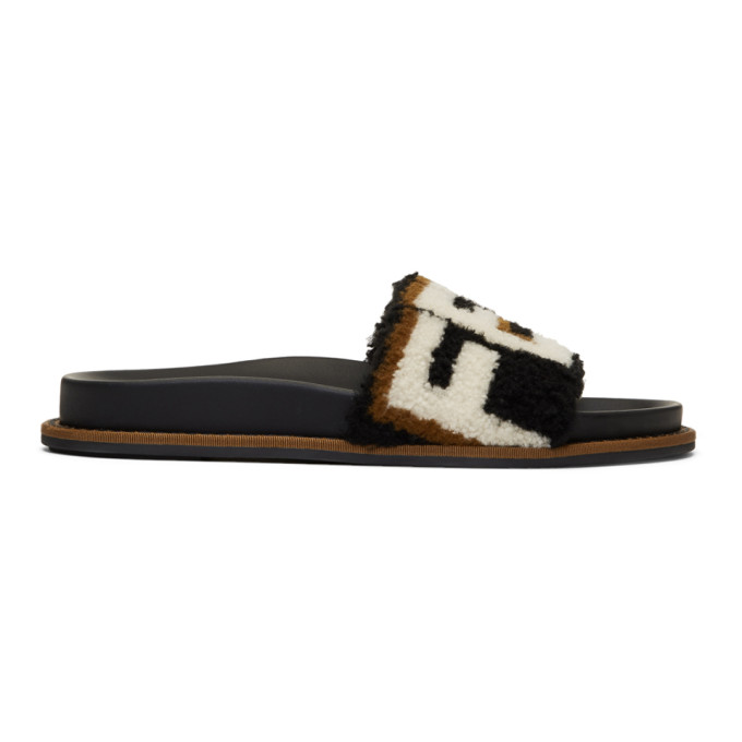 c1824c067a Fendi Black Shearling Logo Slides