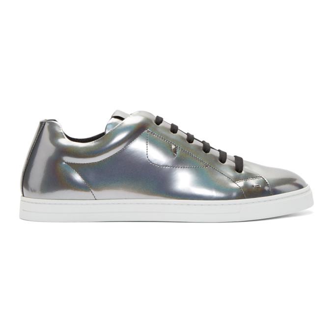 Fendi Silver Patent Sneakers