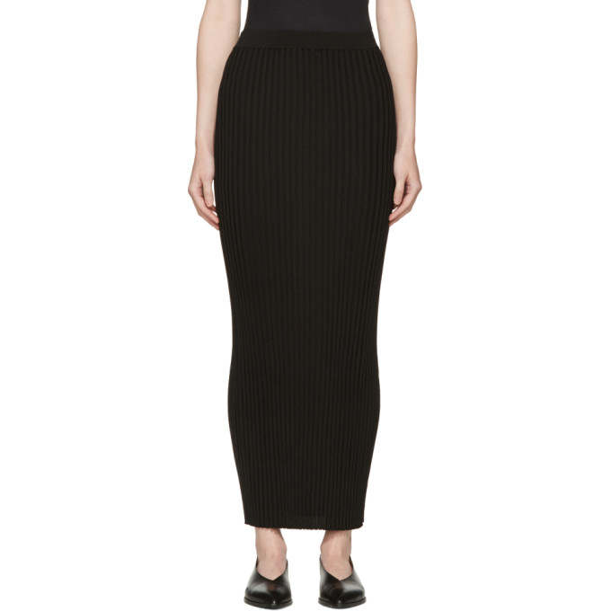 Image of Rosetta Getty Black Ribbed Long Skirt