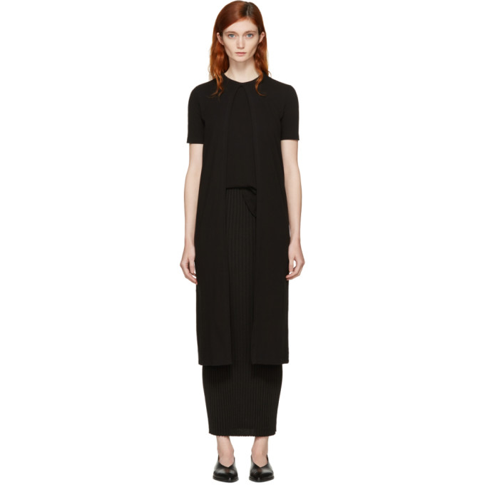 Image of Rosetta Getty Black Long Split Panel T-Shirt