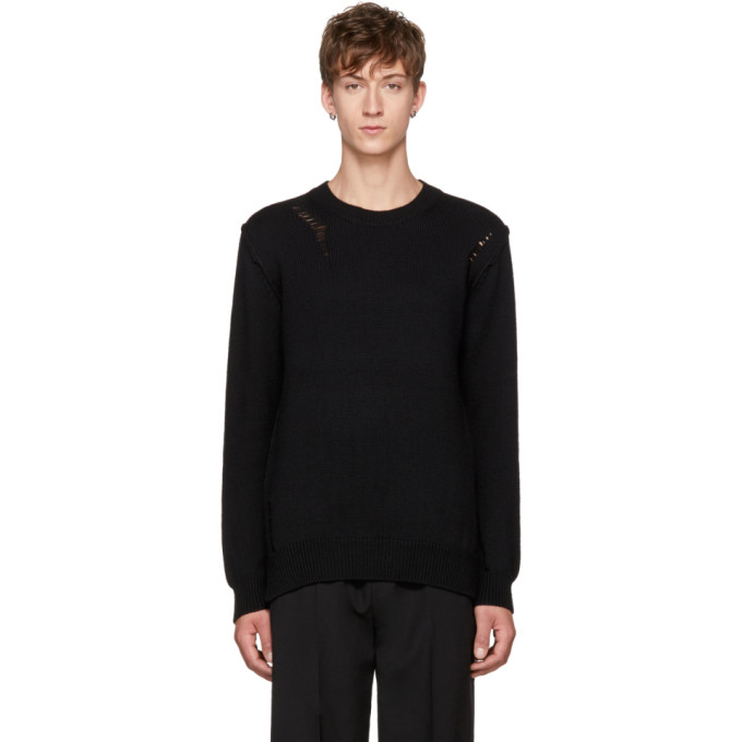 Image of Attachment Black Distressed Wool Sweater