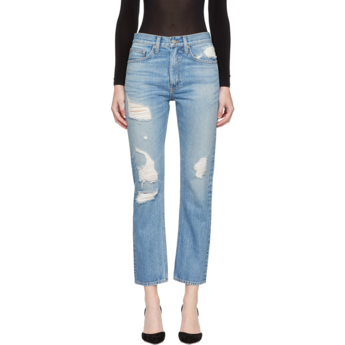 Image of Brock Collection Blue Distressed Wright Jeans