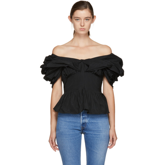 Image of Brock Collection Black Tavi Off-the-Shoulder Blouse