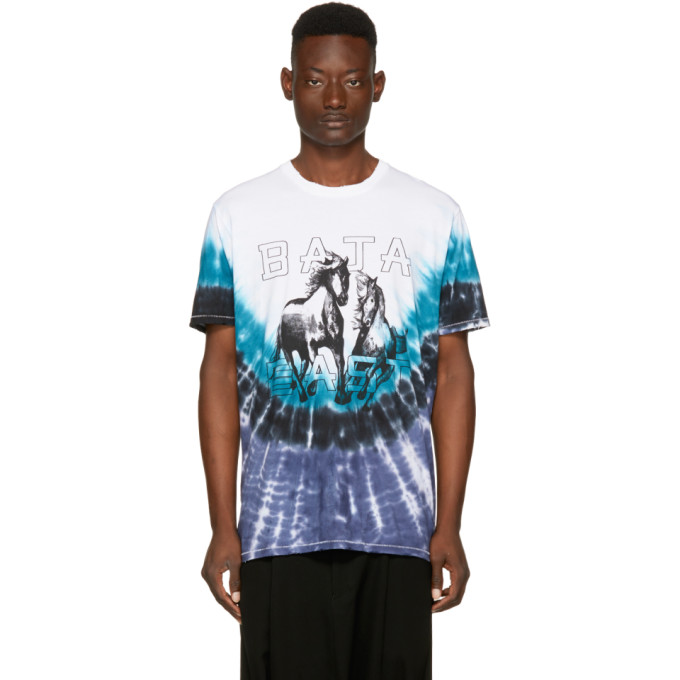 Baja East Blue & White Tie-Dye Horse Logo T-Shirt