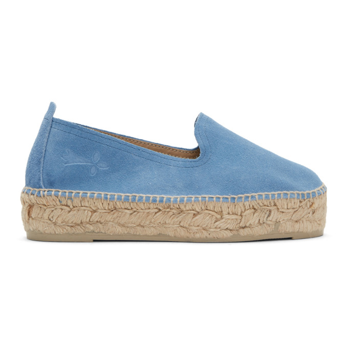 manebi female manebi blue suede hamptons espadrilles