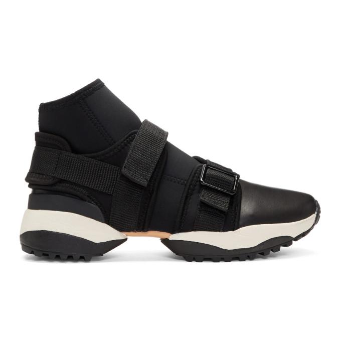Image of Y's Black Neo Plain High-Top Sneakers