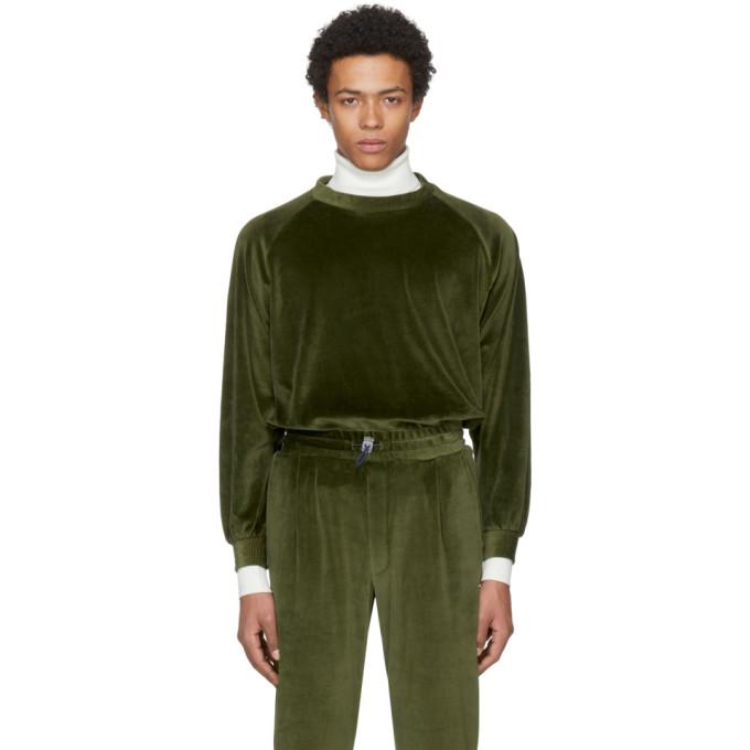 Image of Sunnei Green Velour Sweatshirt