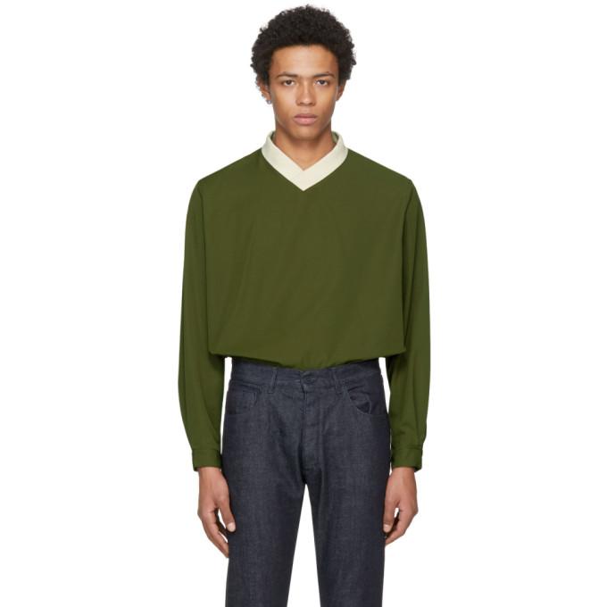 Image of Sunnei Green V-Neck Over Pullover