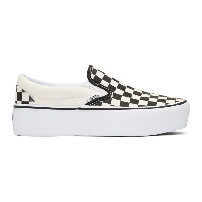 Vans Black & Off-White Checkerboard Classic Platform Slip-On Sneakers