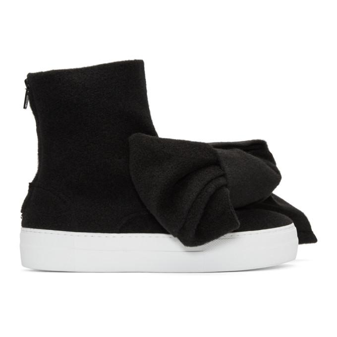 Image of Joshua Sanders Black Felt Bow Sneakers