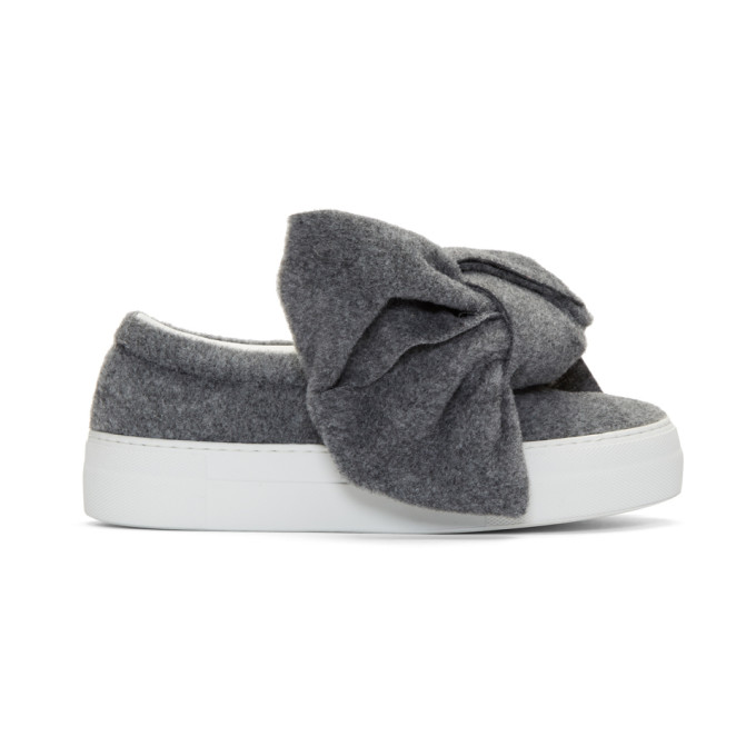 joshua sanders female joshua sanders grey felt bow slipon sneakers