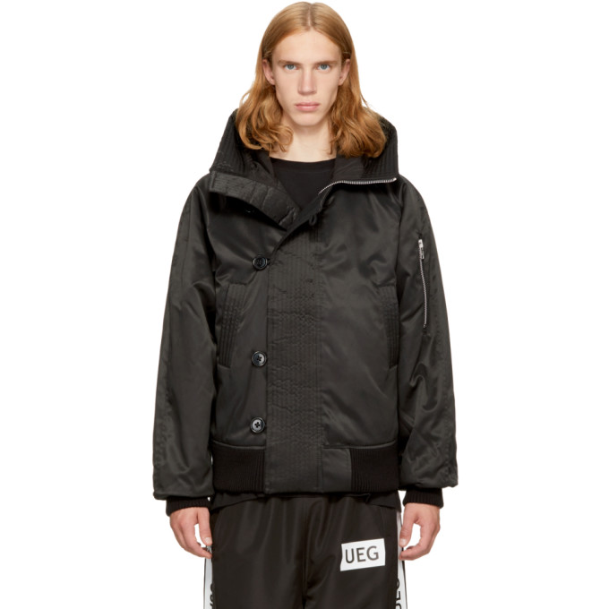 UEG Ueg Black Hooded Flyers Jacket