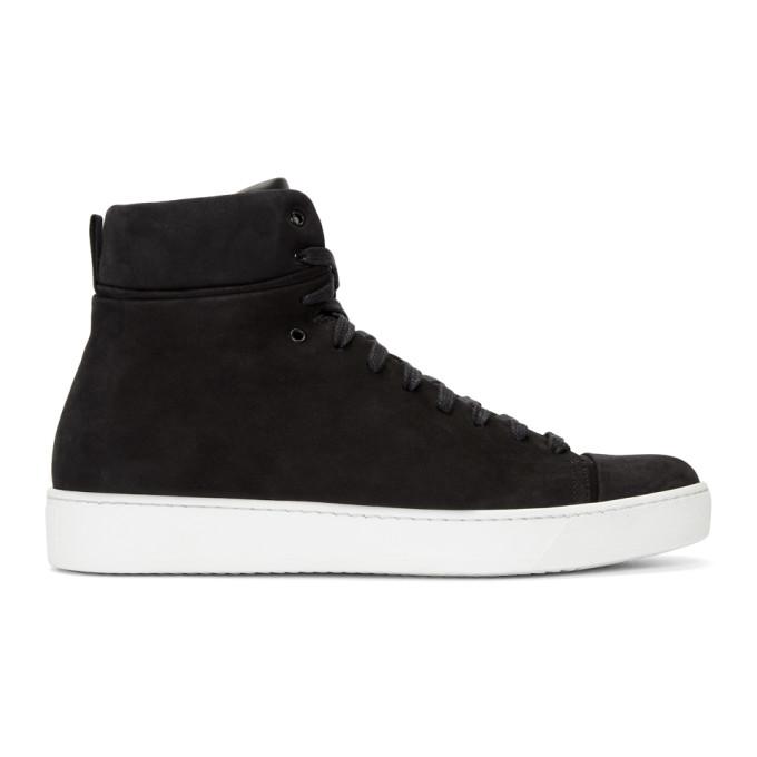 Image of John Elliott Black Nubuck High-Top Sneakers
