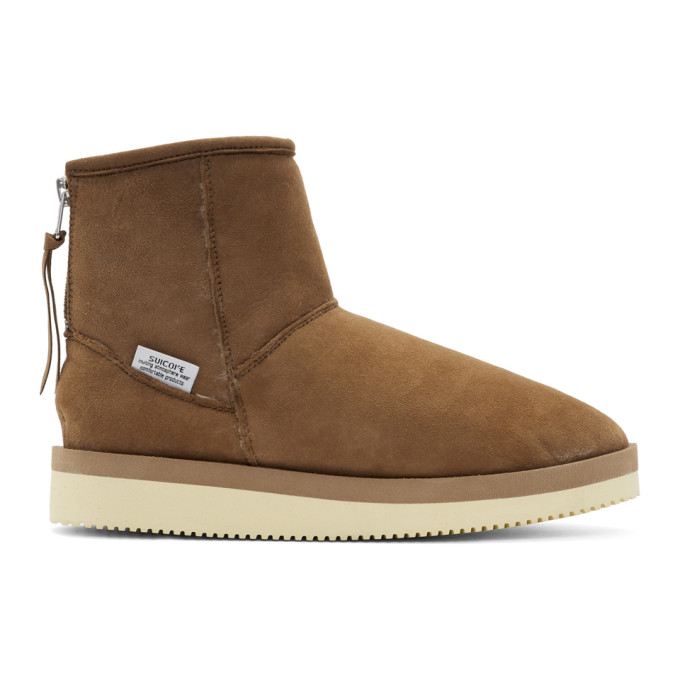 Suicoke Brown Suede Shearling Boots
