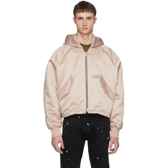 Fear of God Pink Hooded Bomber Jacket