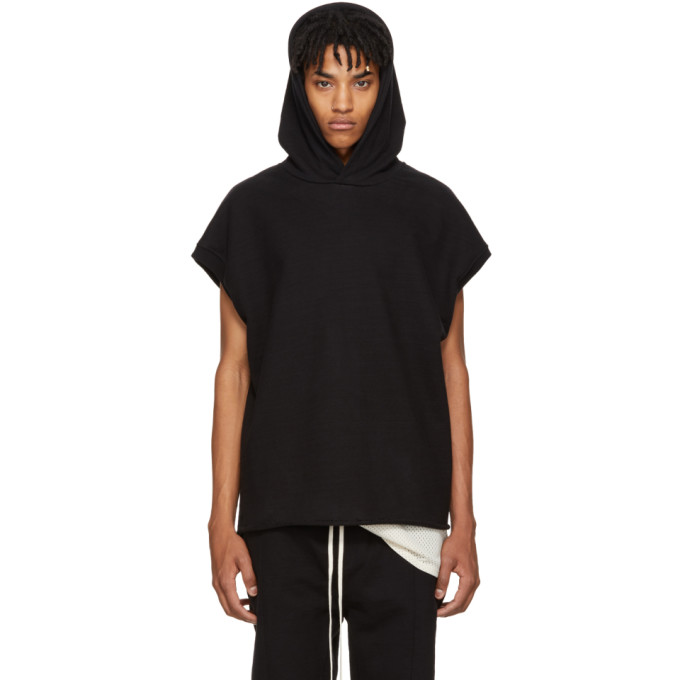 Image of Fear of God Black Heavy Terry Muscle Hoodie