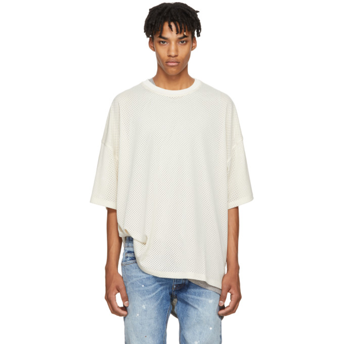 Image of Fear of God Beige Mesh Oversized T-Shirt
