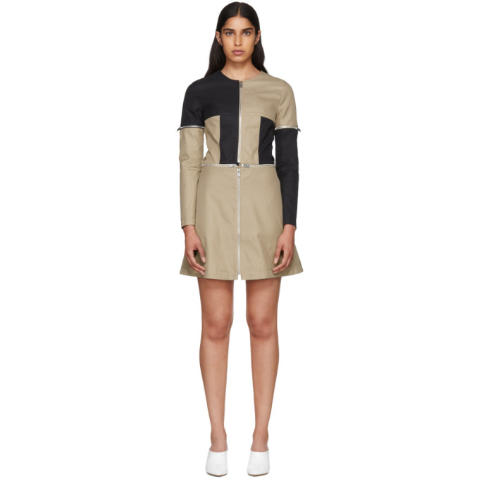 Image of Courrèges Beige & Black Zip Dress
