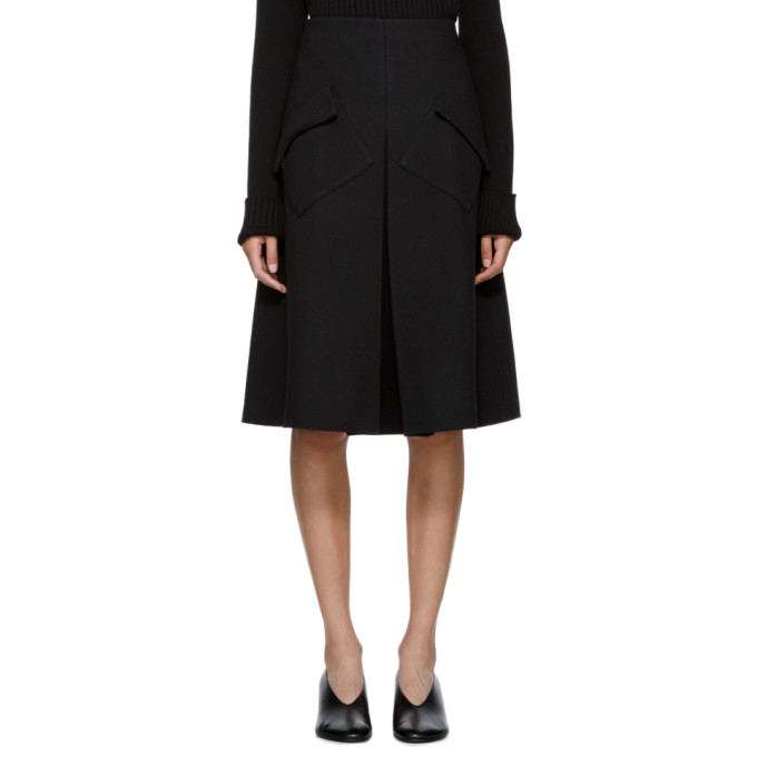 Image of Sara Lanzi Black Wool Pleated Midi Skirt