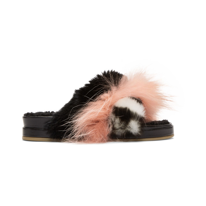 Image of Mr & Mrs Italy Black & Pink Fur Slides