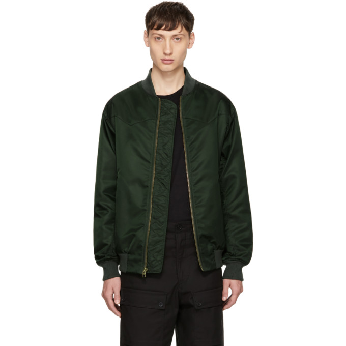 Image of Mr & Mrs Italy Green Nylon New York Bomber Jacket