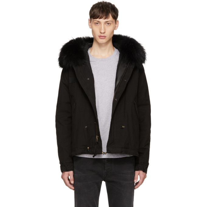 Image of Mr & Mrs Italy Black Fur Collar Mini Parka