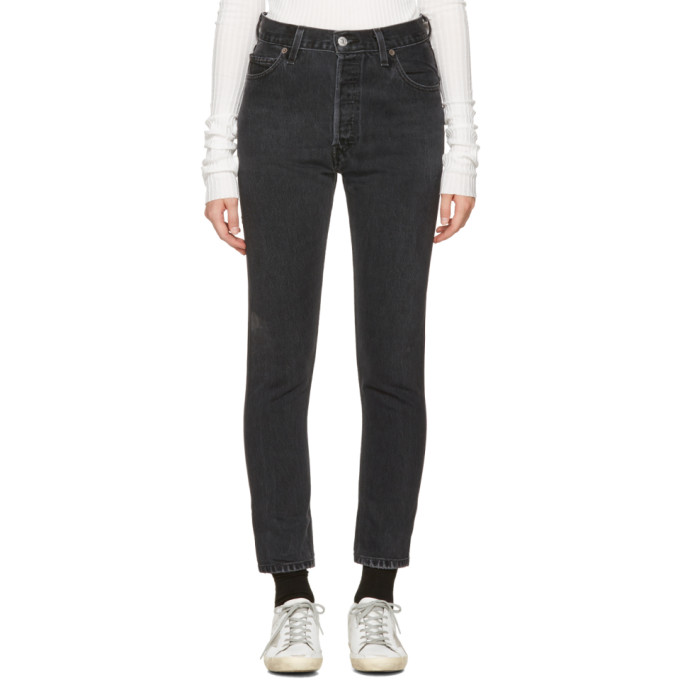 Re/Done Black High-Rise Ankle Crop Jeans